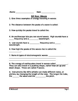 Lesson 05 Bill Nye Waves Worksheet