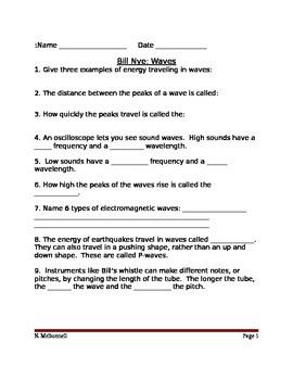 Lesson 05 Bill Nye Waves Worksheet
