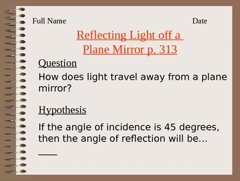 Lesson 06 Reflecting Light off plane Mirror Answers