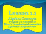 Lesson 1.1 Intro to Algebra