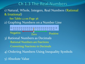 Lesson 1.3 The Real Numbers