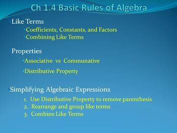 Lesson 1.4 Basic Algebra Rules