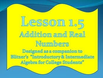 Lesson 1.5 Addition of Real Numbers