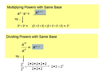Lesson 1-8 - Properties of Exponents
