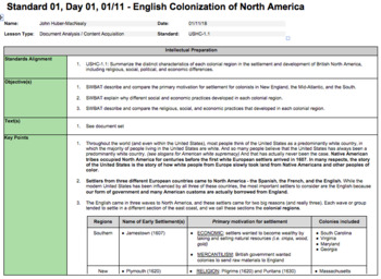 English Colonization of North America (LP + Docs + PPT + Chart)