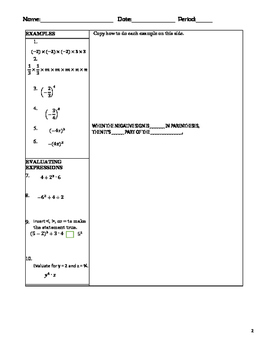 Lesson 1 Exponents and Order of Operations Guided Notes