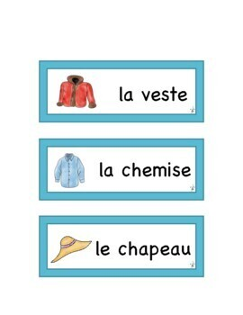 French Clothes WORD WALL & FLASHCARDS
