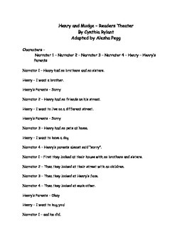 Lesson 1 Henry and Mudge Readers Theater Journeys
