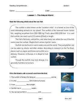Lesson 1 - The Natural World