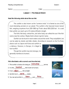 Reading G4-5 Lesson 1 - The Natural World: Sunfish