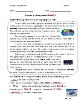 Reading G4-5 - Lesson 10: Geography