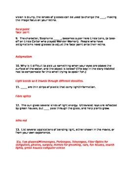 Lesson 11 Bill Nye Light Optics Answers
