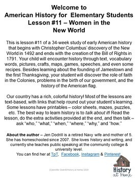Lesson 11: Women in the New World (Early American History/34 lessons)