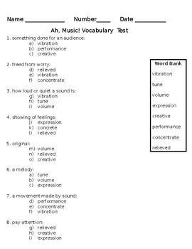 Lesson 12 Ah, Music Vocabulary Test