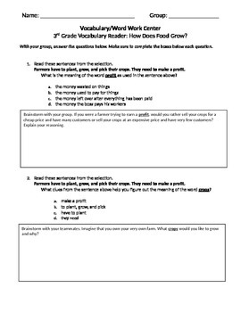 FSA and PARCC Test Prep - Lesson 12 - How Does Food Grow - Journeys Readers