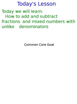 Lesson 127 Add And Subtract Fractions And Mixed Number With Unlike Denominators