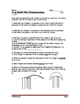 Lesson 13 Curved Mirrors Review Worksheet