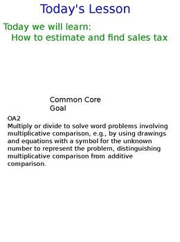 Lesson 130-1 Estimate And Find Sales Tax (Decimals)