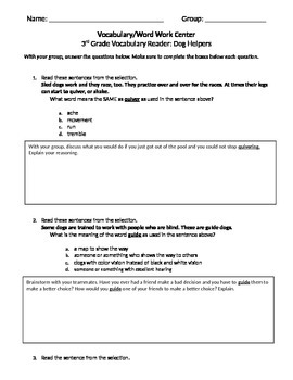 FSA and PARCC Test Prep - Lesson 14 - Dog Helpers - Journeys Vocabulary Readers