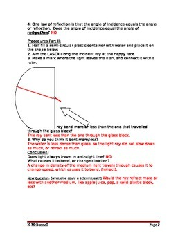Lesson 14 LASER Refraction Lab Answers