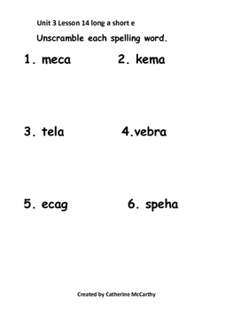Lesson 14 Spelling/ Homework Packet