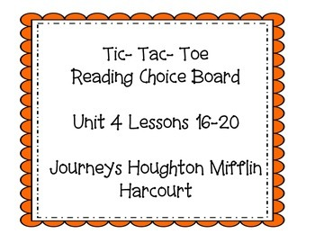 3rd grade Journey's Choice Boards Lessons 16-20