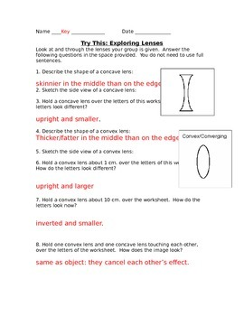 Lesson 16 Try this Lens Answers