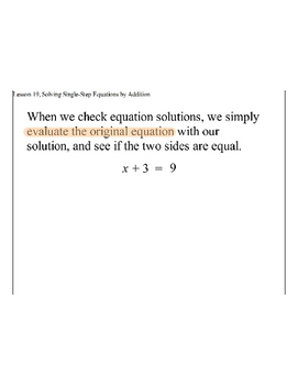 Lesson 19, Solving Single-Step Equations by Adding the Opposite