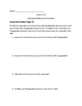 Lesson 2.12 Unlock the Problem Go Math
