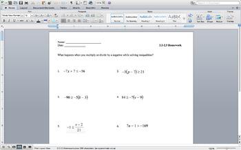 Lesson 2.2-2.3 SolvingInequalities