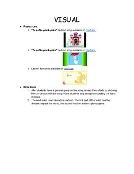 Lesson 2:  French Colors, Les couleurs -- CURRICULUM AND TEACHER KEY