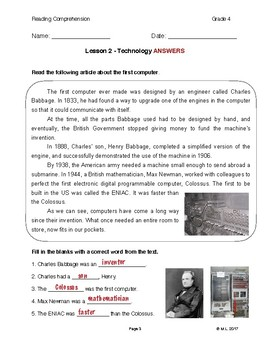 Reading G4-5 - Lesson 2: Technology