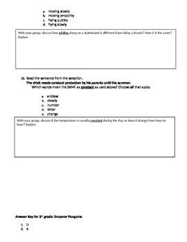 FSA and PARCC Test Prep - Lesson 20 - Emperor Penguins - Vocabulary Readers