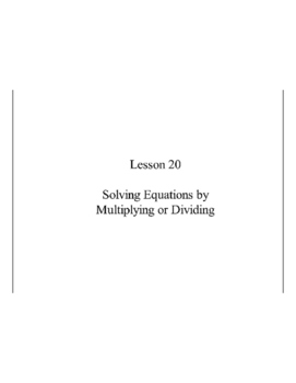 Lesson 20, Solving Single-Step Equations by Multiplying or Dividing