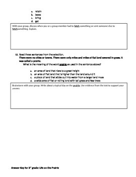 FSA and PARCC Test Prep - Lesson 21 - Life on the Prairie - Journeys Readers