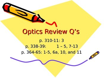 Lesson 22 Optics Review Questions and Answers