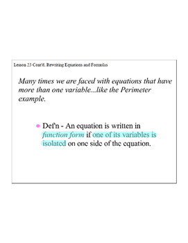 Lesson 23, Continued, Rewriting Equations and Formulas