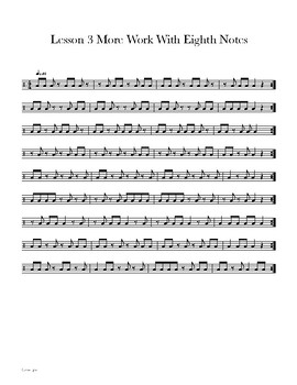 photo regarding Printable Drum Rudiments referred to as Lesson 3 - Snare Drum Mastery 101 - One Stroke Rudiments and 8th Notes