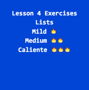 Python Lesson 4 Exercises: Lists