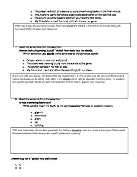 FSA and PARCC Test Prep - Lesson 5 - Mia and Nomar - Journeys Vocabulary Readers