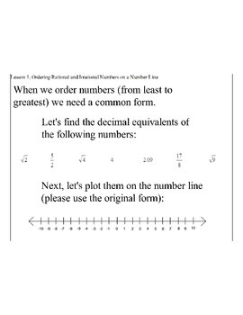 Lesson 5, Ordering Rational and Irrational Numbers