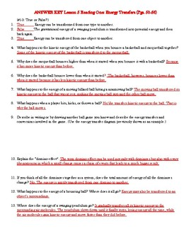 IQWST PS2 Lesson 5 Reading One Guide Worksheet - Energy Transfer