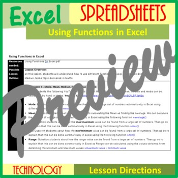 Excel Spreadsheets - Using Functions in Excel (ISTE 2016 Aligned)