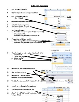 """Lesson 5 - using """"if"""" statements in a spreadsheet"""