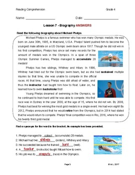 Reading G4-5 - Lesson 7: Biography