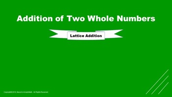 Lesson 7 Part  2: Addition of Two Whole Numbers (Lattice Strategy)