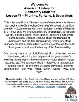 Lesson 7: Pilgrims, Puritans, & Separatists (Early American History/34 lessons)