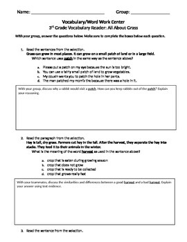 FSA and PARCC Test Prep - Lesson 8 - About Grass - Journeys Vocabulary Readers