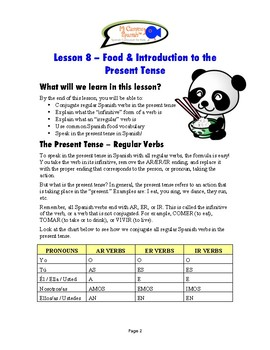 Lesson 8 - Food & Introduction to the Present Tense (SPANISH BASICS)