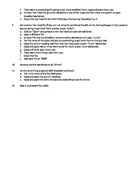Lesson 8 - Nutrition spreadsheet part 2